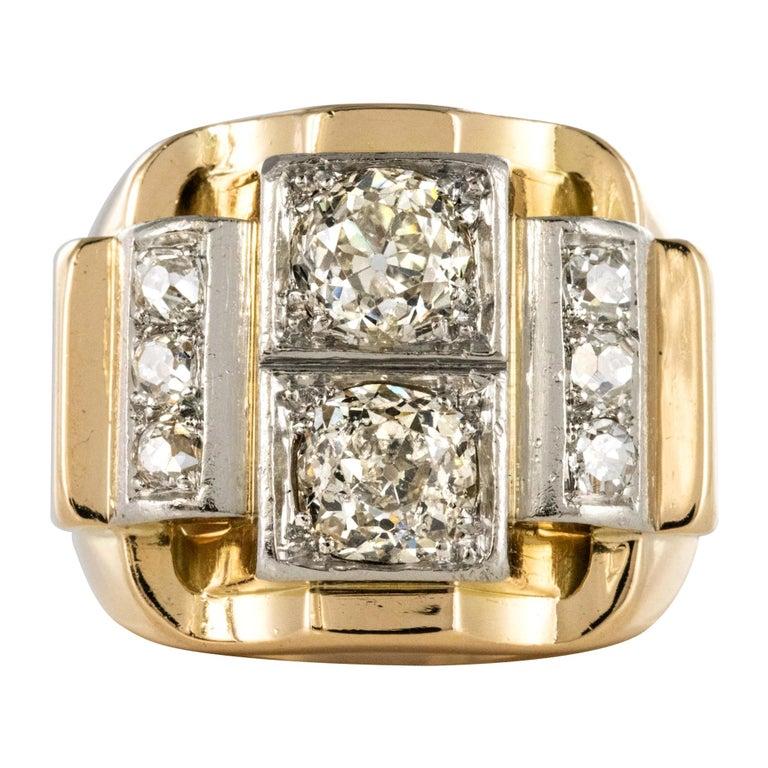 1940s Retro 2.30 Carat Diamonds 18 Karat Yellow Gold Platinum Tank Ring For Sale