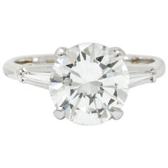 1940s Retro 3.23 Carat Round Diamond Platinum Engagement Ring GIA