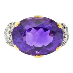 1940s Retro Amethyst Diamond 18 Karat Gold Platinum Cocktail Ring