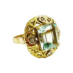 1940s Retro Aquamarine, Diamonds 18k Yellow Gold Cocktail Ring