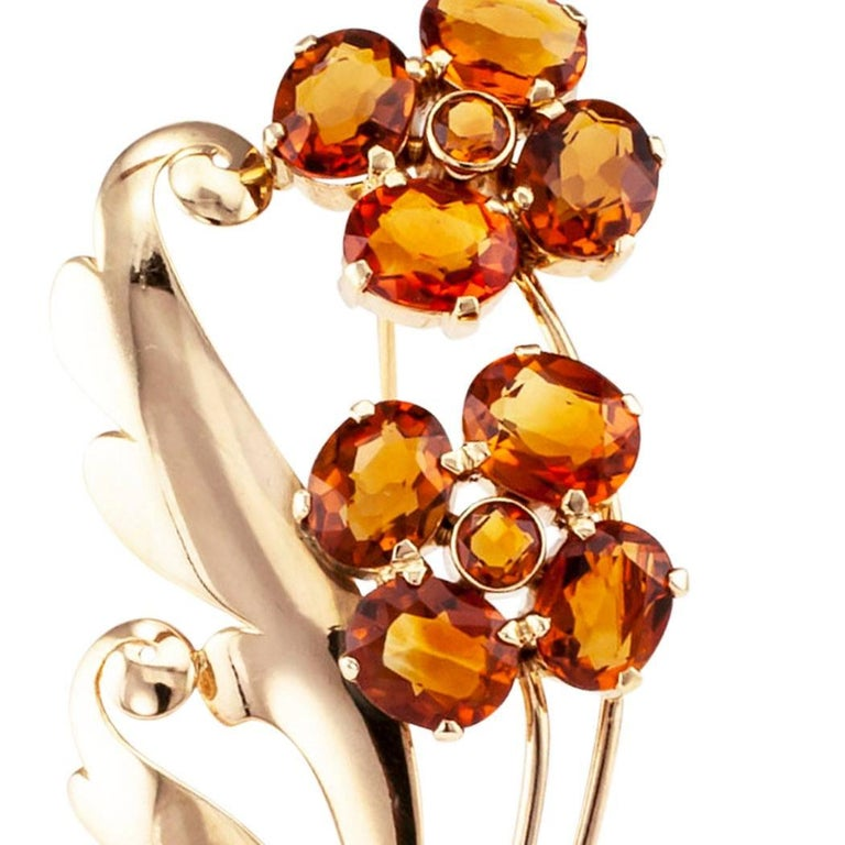 1940s Retro Citrine Flower Gold Brooch For Sale 2