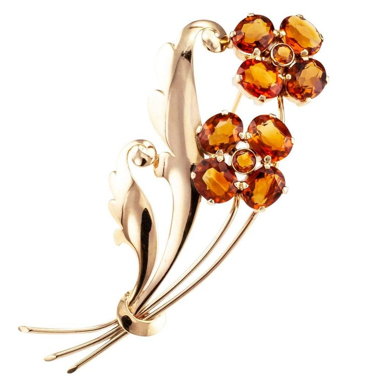 1940s Retro Citrine Flower Gold Brooch For Sale