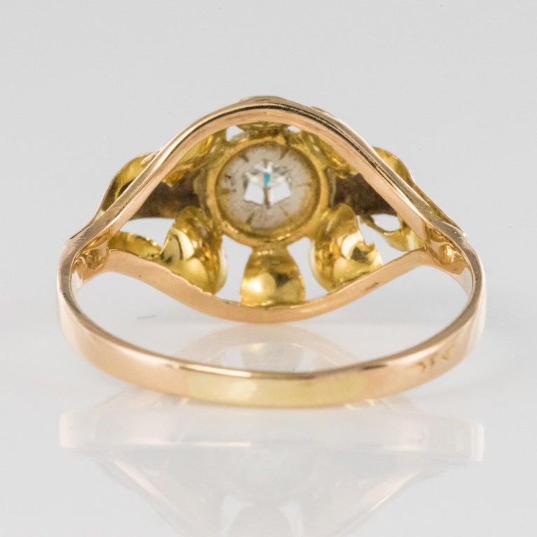 1940s Retro Diamond 18 Karat Yellow Gold Ring For Sale 5