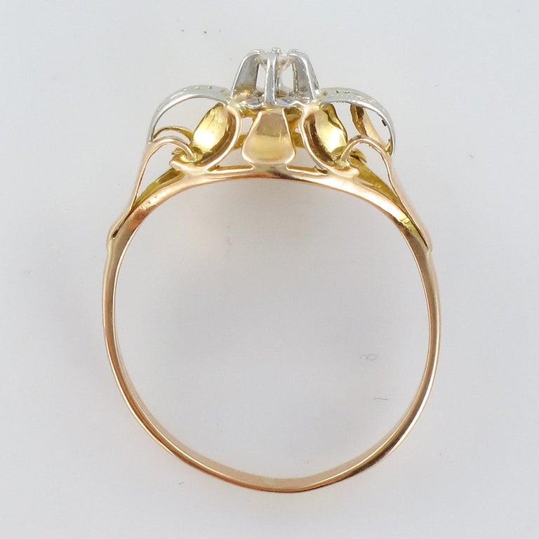 1940s Retro Diamond 18 Karat Yellow Gold Ring For Sale 8