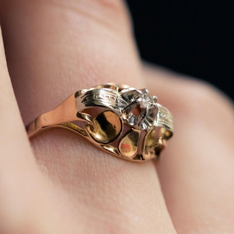 1940s Retro Diamond 18 Karat Yellow Gold Ring For Sale 9
