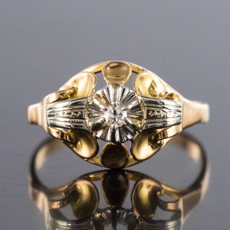 Brilliant Cut 1940s Retro Diamond 18 Karat Yellow Gold Ring For Sale