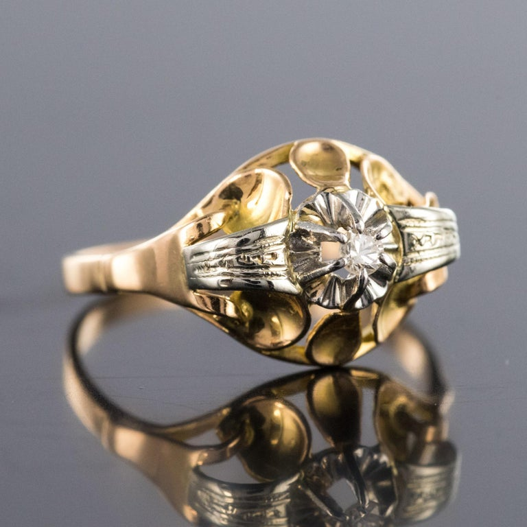 1940s Retro Diamond 18 Karat Yellow Gold Ring In Good Condition For Sale In Poitiers, FR