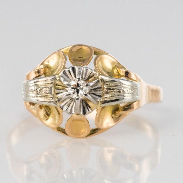 1940s Retro Diamond 18 Karat Yellow Gold Ring For Sale 1
