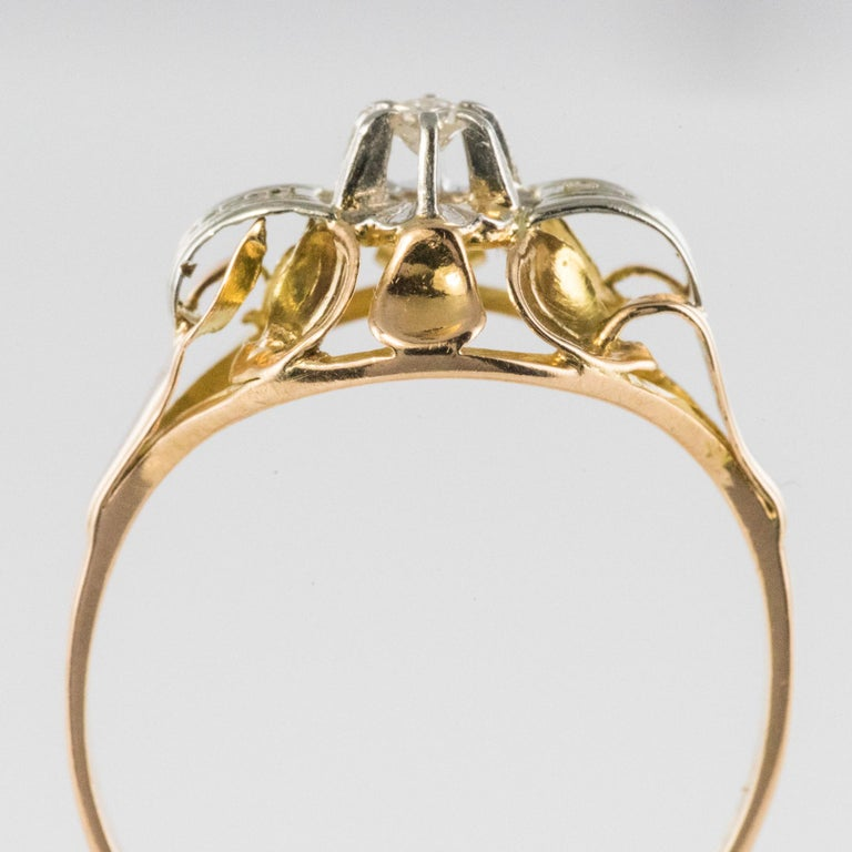 1940s Retro Diamond 18 Karat Yellow Gold Ring For Sale 2