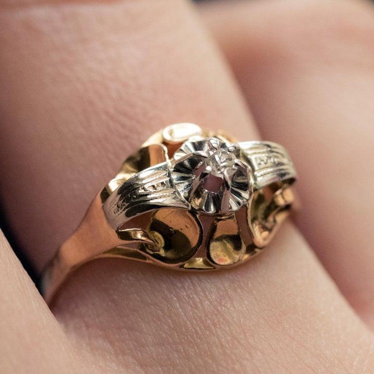 1940s Retro Diamond 18 Karat Yellow Gold Ring For Sale 3