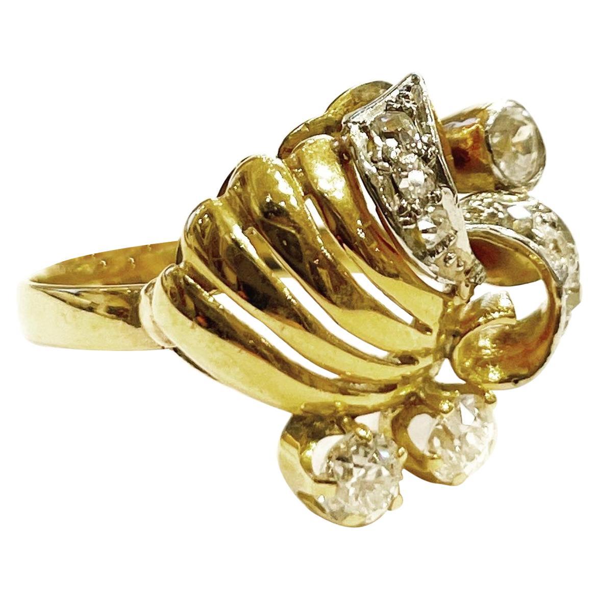 1940s Retro Diamond 18k Yellow Gold Platinum Cocktail Ring
