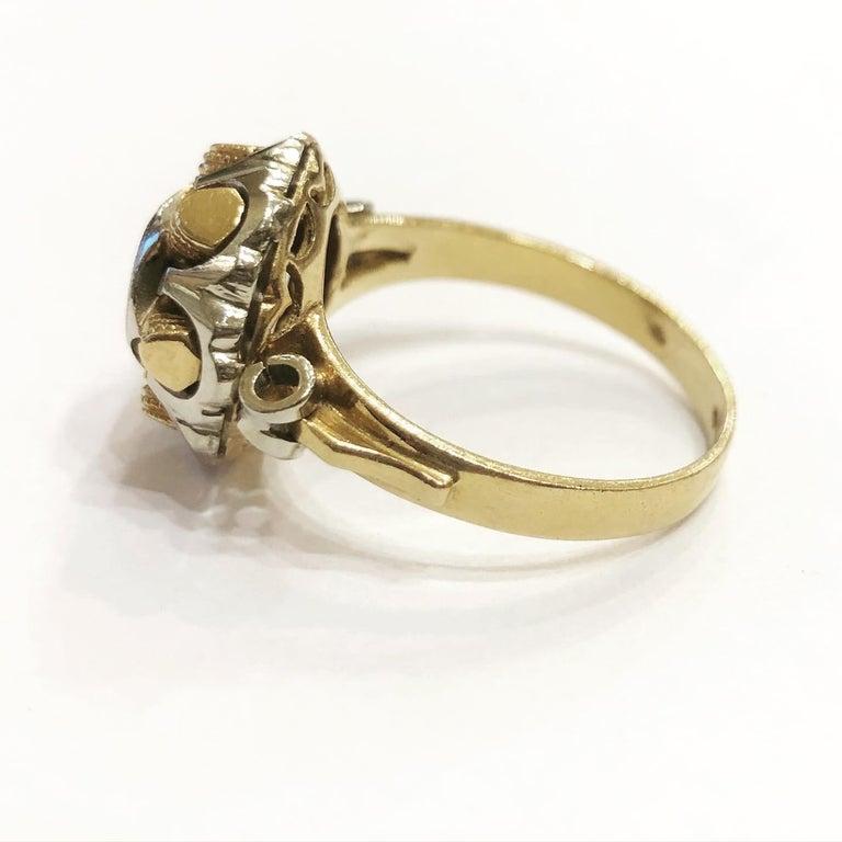 Brilliant Cut 1940s Retro Diamond Gold Tank Cocktail Ring For Sale