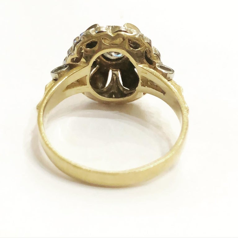 1940s Retro Diamond Gold Tank Cocktail Ring In Good Condition For Sale In Pamplona, Navarra