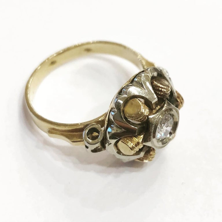 Women's or Men's 1940s Retro Diamond Gold Tank Cocktail Ring For Sale