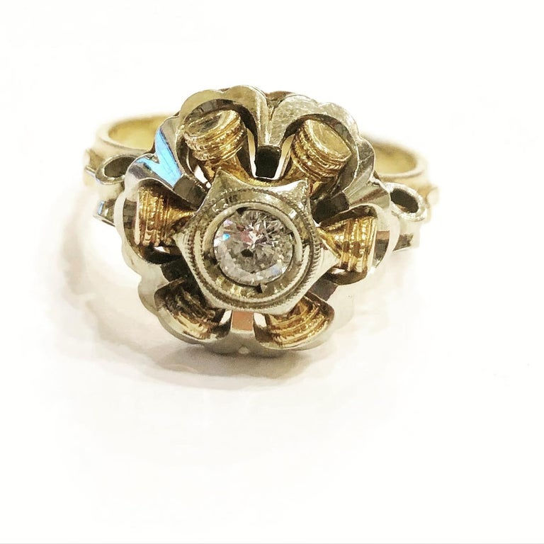1940s Retro Diamond Gold Tank Cocktail Ring For Sale 1