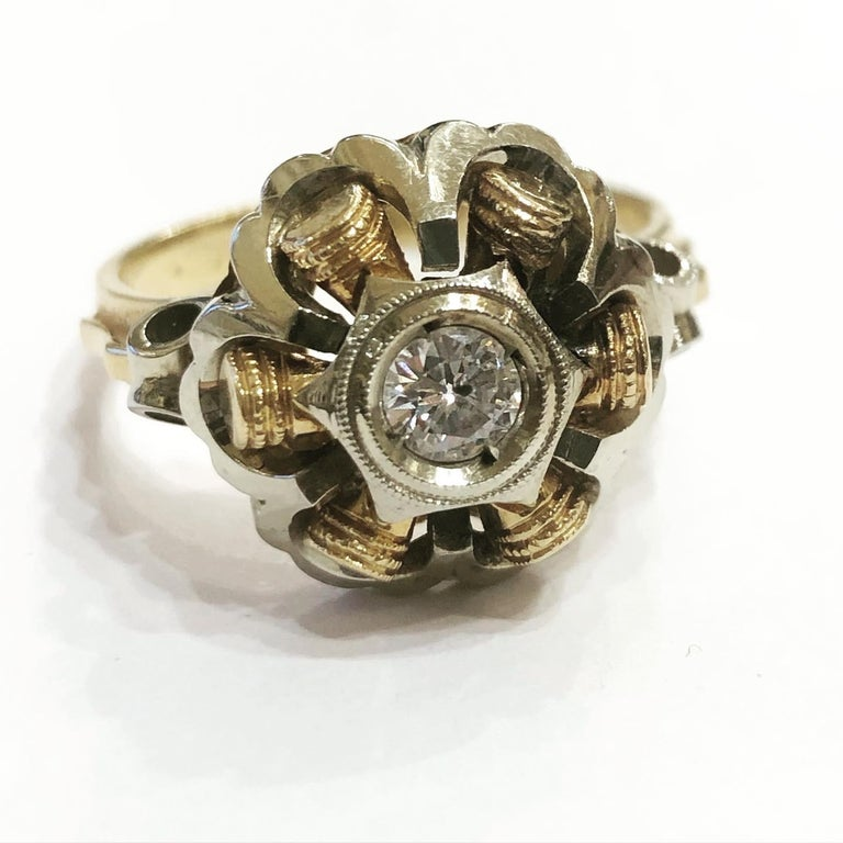 1940s Retro Diamond Gold Tank Cocktail Ring For Sale 2