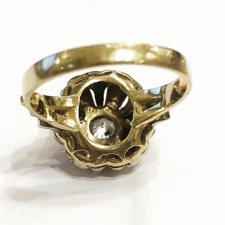 1940s Retro Diamond Gold Tank Cocktail Ring For Sale 3