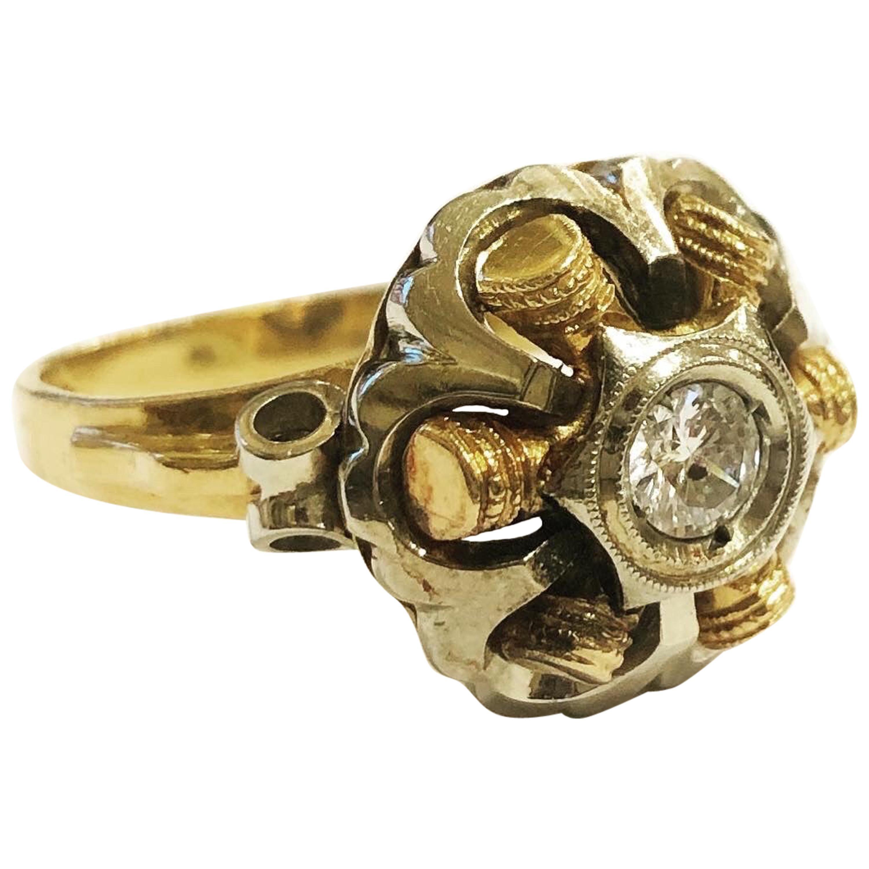 1940s Retro Diamond Gold Tank Cocktail Ring