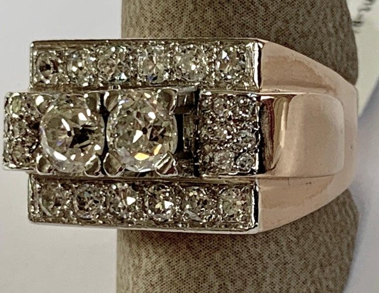 Round Cut 1940s Retro Diamond Gold Tank Ring For Sale
