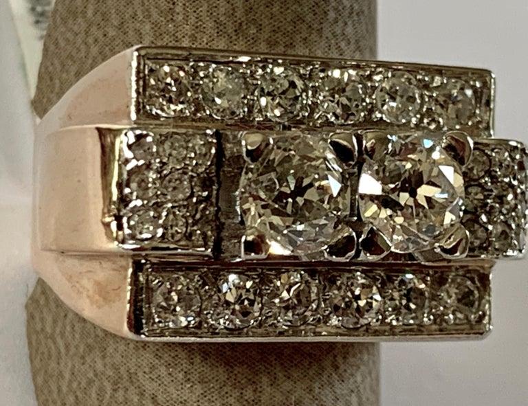 1940s Retro Diamond Gold Tank Ring In Good Condition For Sale In Zurich, Zollstrasse