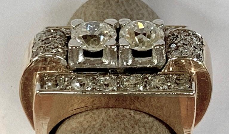 Women's 1940s Retro Diamond Gold Tank Ring For Sale
