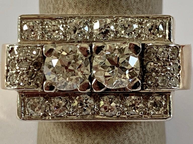 1940s Retro Diamond Gold Tank Ring For Sale 1
