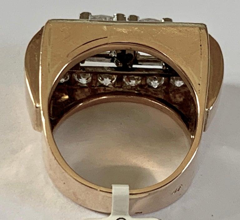 1940s Retro Diamond Gold Tank Ring For Sale 2