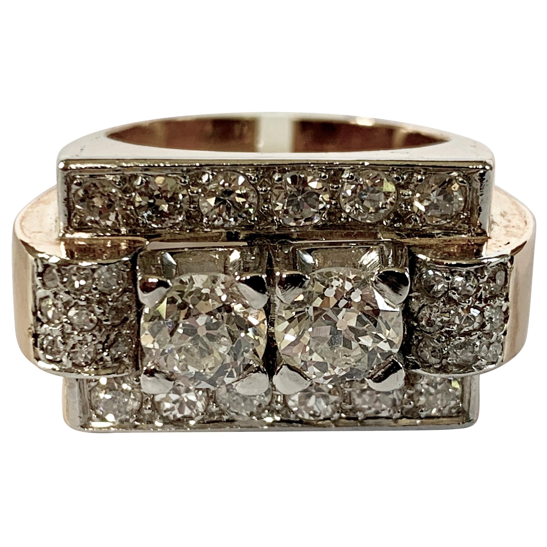 1940s Retro Diamond Gold Tank Ring