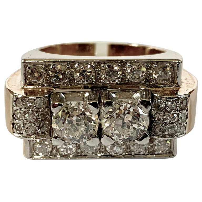 1940s Retro Diamond Gold Tank Ring For Sale