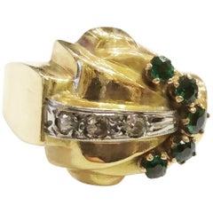 1940s Retro Diamond Green Tourmaline Gold Tank Cocktail Ring