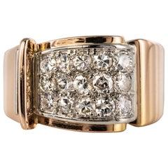 1940s Retro Diamond Paved 18 Karat Rose Gold Tank Ring
