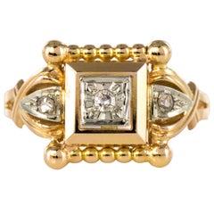 1940s Retro Diamonds 18 Karat Rose Gold Pearly Ring