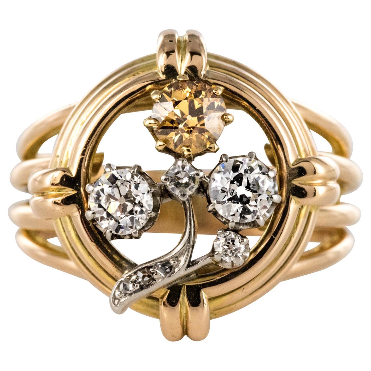 1940s Retro Diamonds 18 Karat Yellow Gold Clover Ring