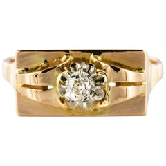 1940s Retro Diamonds 18 Karat Yellow Gold Tank Ring