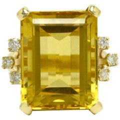 1940s Retro Emerald Cut Citrine Cocktail Ring 19 Carat Gemstone 14K Gold Diamond
