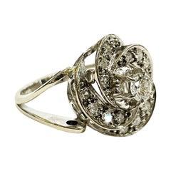 1940s Retro Halo Diamond Cluster 18k White Gold Cocktail Ring