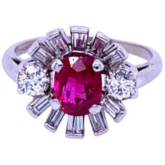 1940s Retro Platinum Ruby and Diamond Ring