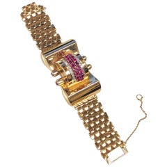 1940s Retro Rose Gold and Gem set Large Hidden Surprise Watch