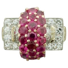 1940s Retro Ruby and Diamond Ring in Yellow Gold and Palladium