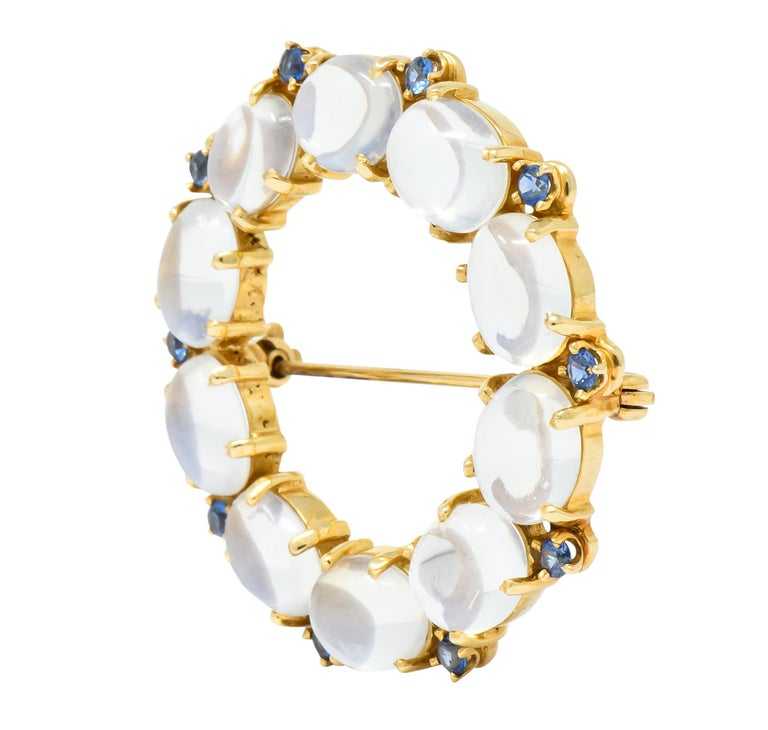Oval Cut 1940s Retro Sapphire Moonstone 14 Karat Gold Circle Pin Brooch For Sale