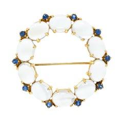 1940s Retro Sapphire Moonstone 14 Karat Gold Circle Pin Brooch