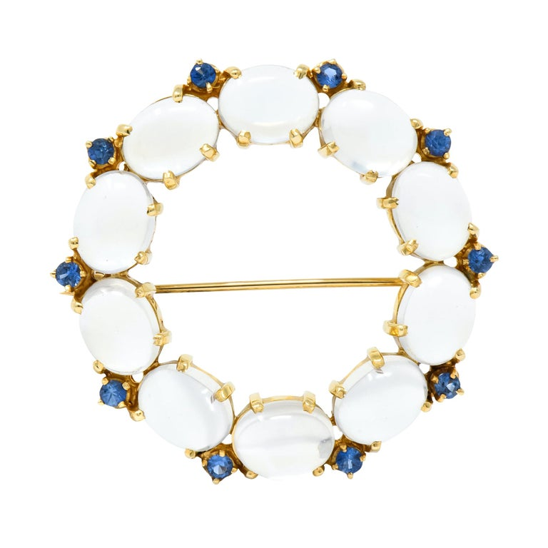 1940s Retro Sapphire Moonstone 14 Karat Gold Circle Pin Brooch For Sale