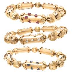 1940s Retro Set of Three Yellow Gold and Gem Set Patriotic Bracelets