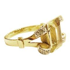 1940s Retro Tank Diamond Citrine 18k Yellow Gold Platinum Tank Cocktail Ring