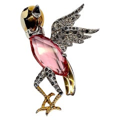 1940s Rhodium and Rhinstone Art Ddeco Bird Pin