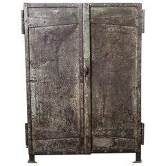 1940s Riveted Industrial Metal Storage Cabinet, Cupboard