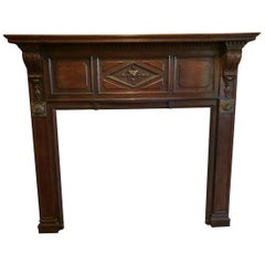 1940s Rococo Walnut Mantel with Carved Details