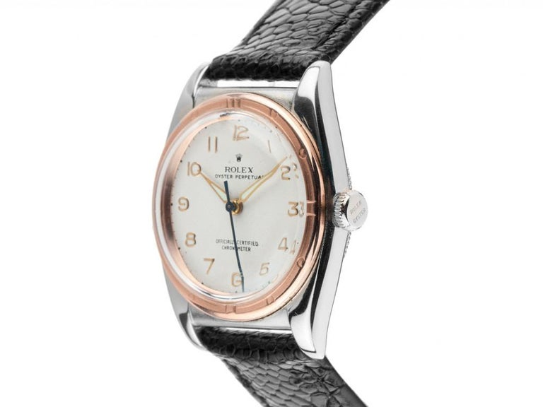 Unisex Rolex Oyster Perpetual bubble back wristwatch   Stainless steel, polished and satin-finished  Diameter without crown: 34 mm = circa 1.33