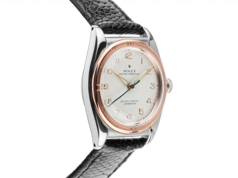 Mid-Century Modern 1940s Rolex Oyster Perpetual Bubble Back Wristwatch Steel Rose Gold Automatic For Sale