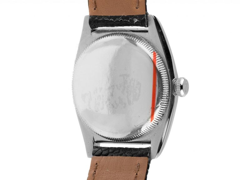 Polished 1940s Rolex Oyster Perpetual Bubble Back Wristwatch Steel Rose Gold Automatic For Sale